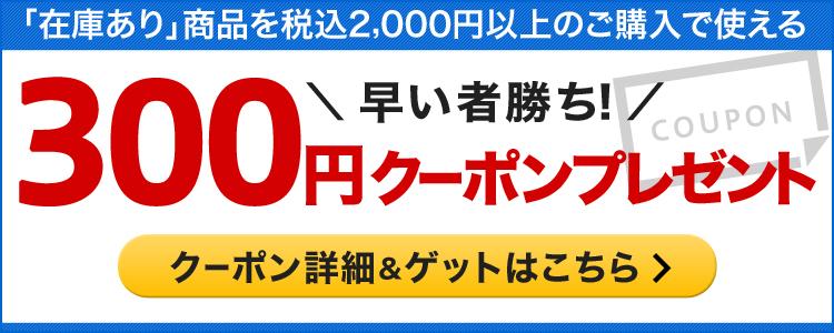 「在庫あり」商品を税込2,000円以上購入で使える300円クーポン配布中!