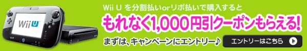 Wii Uを分割払い or リボ払いでもれなく1,000円クーポンプレゼント