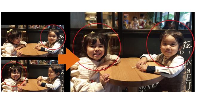 複数の写真を合成してベストショットが作れます。家族写真のはがきも最高の笑顔に。