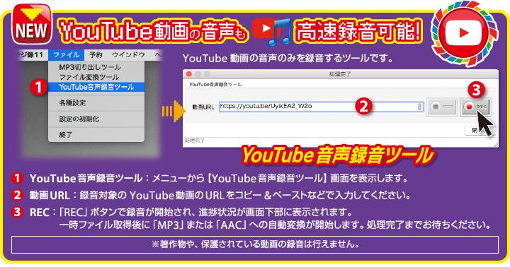 YouTube動画の音声も高速録音可能